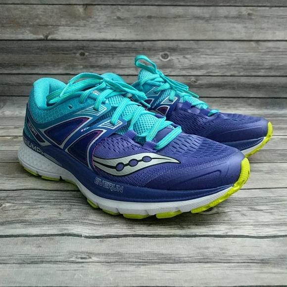 saucony triumph iso 3 womens shoes purple/blue/citron